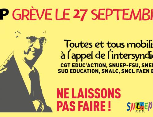 Le 27 septembre : grève nationale pour défendre l'enseignement professionnel public