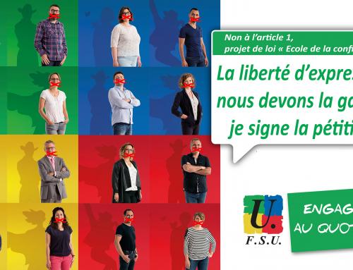 Non à l'article 1, projet de loi « Ecole de la confiance » La liberté d'expression, nous devons la garder, je signe la pétition !