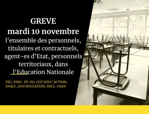 Le mardi 10 novembre, en grève sanitaire, 10h30 devant la DSDEN à Perpignan